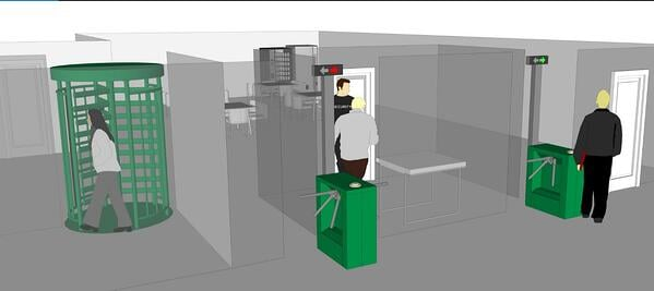 Distribution centers use full height and tripod turnstiles for employees leaving work
