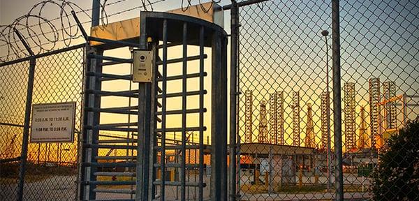 full height turnstiles protect the fenceline