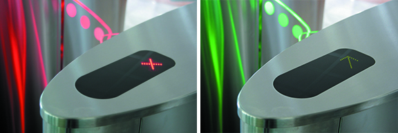 Optical turnstiles should be equipped with some sort of visual communication