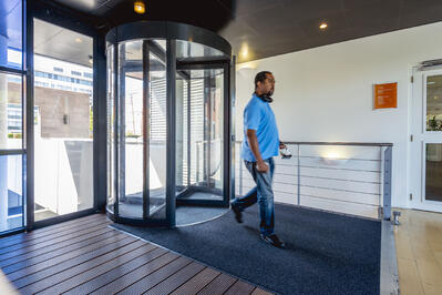 Security revolving doors have numerous codes for emergency egress