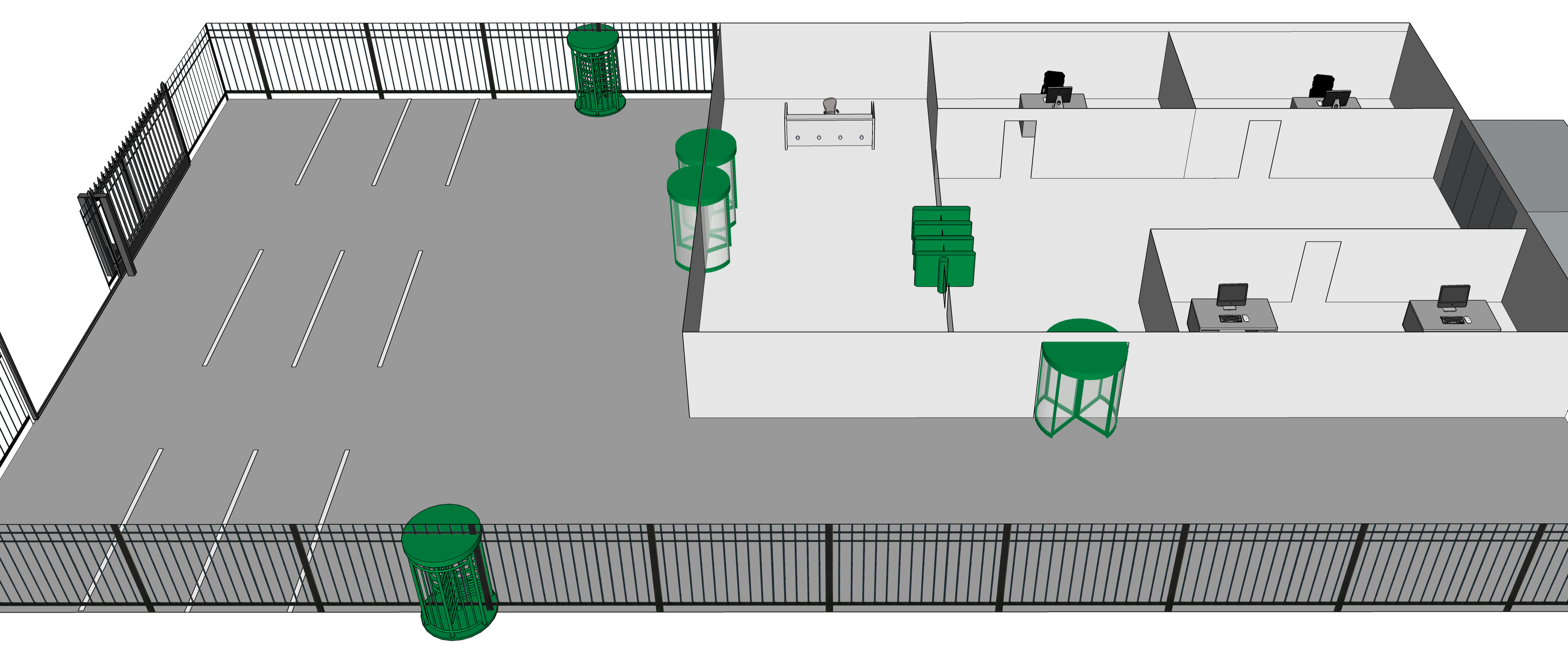Physical Security in Layers: Turnstile Locations on a Corporate Campus